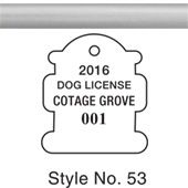 Dog & Cat License Tags - Silver aluminum