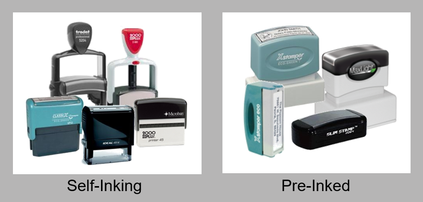 Self-Inking and Pre-Inked Stamps